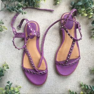 Frye T-Strap Purple Sandals Studded 7.5 'Mary'